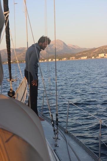 Raising the anchor in Pollenca