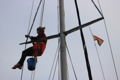 Rigging amateur in the mast