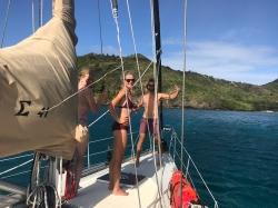 Checking on the anchor at Chatham Bay