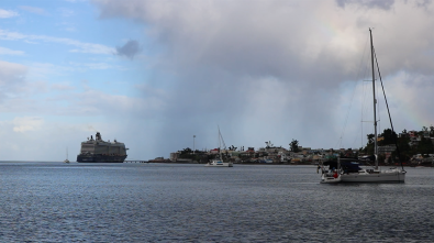 The cruise ship and some rain squalls