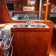 Galley, deep double sinks, one tap with foot pump and one with an electrical pump