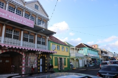 Colonial style colourful houses